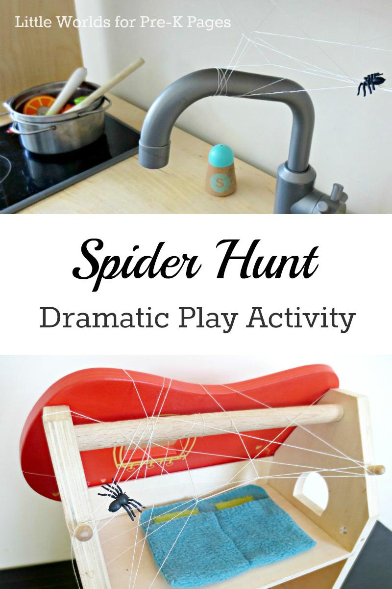 spider hunt dramatic play for preschool