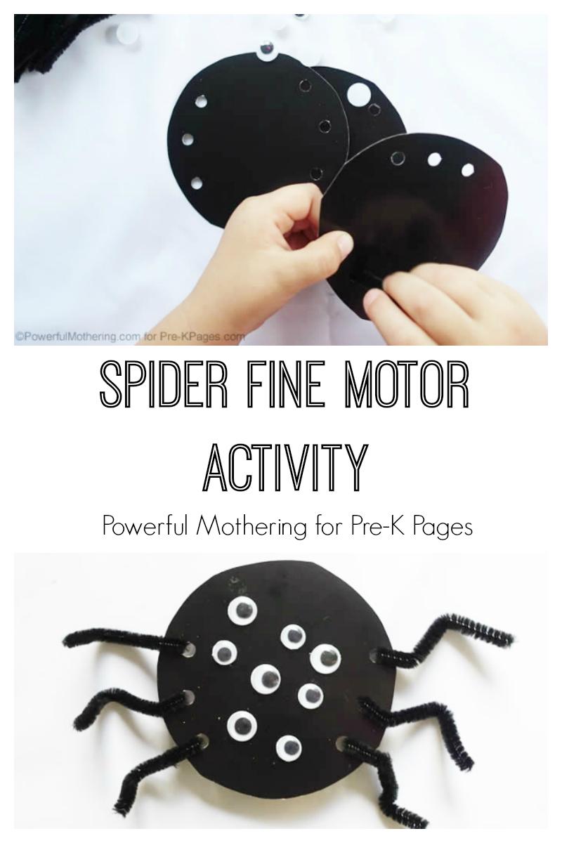 Spider fine motor activity for Spider crafts for preschoolers