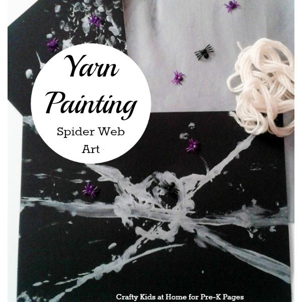 yarn painting spider webs for preschool