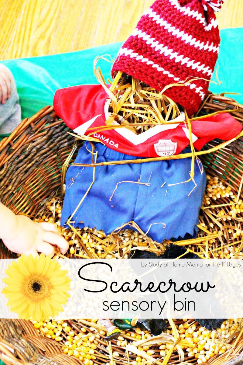 Scarecrow Sensory Bin for preschool