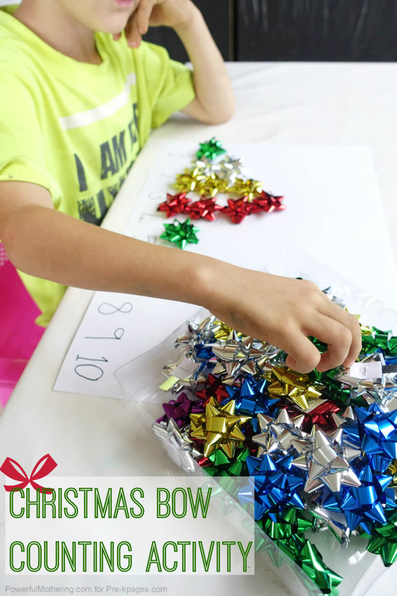 Christmas bow counting for preschool