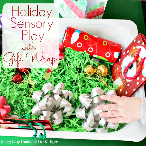 Holiday Gift Wrap Sensory Bin for preschool