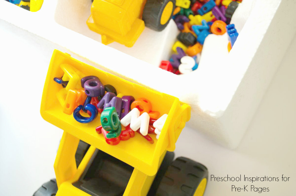 Construction Site Alphabet Dig sensory play