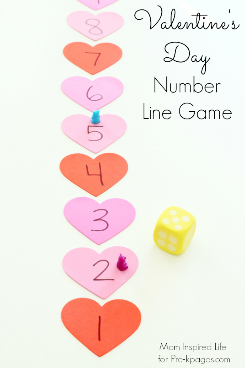 Valentines Day Heart Number Line Game For Preschool