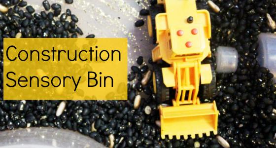 Construction Trucks Sensory Bin