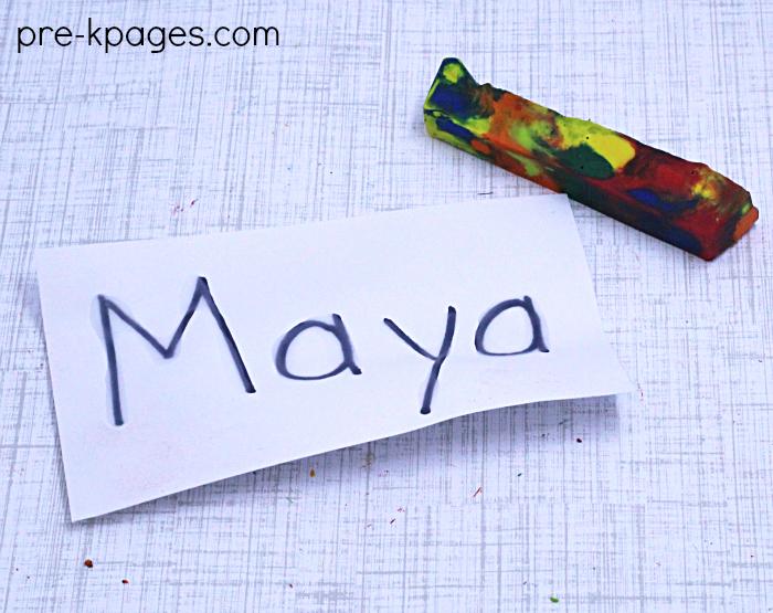 Crayon Rubbing Names in Preschool