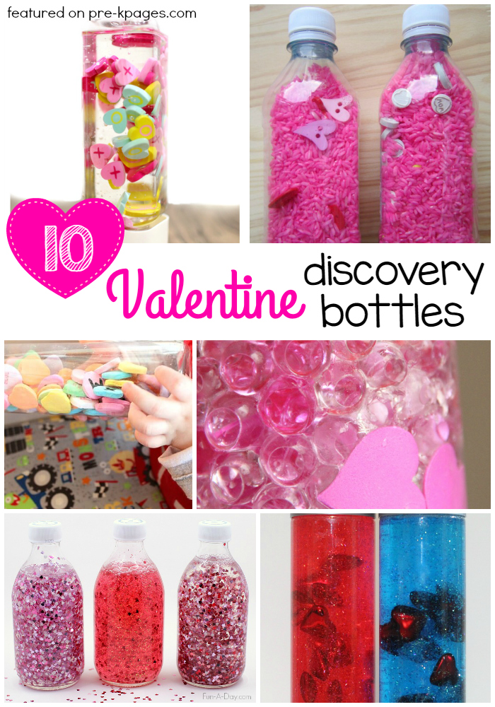 Valentine Discovery Bottles for Preschool