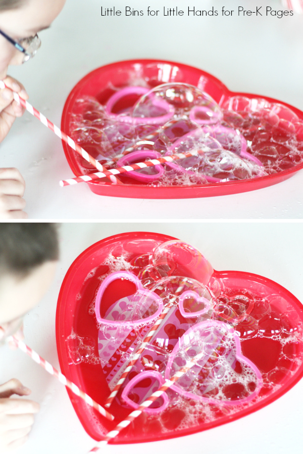Valentines Day Bubble Science Blowing Bubbles