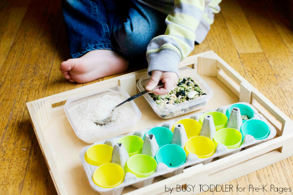 easter scoop and pour activity