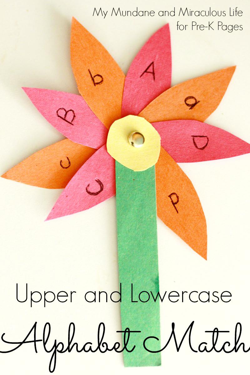 spring flower alphabet letter match for preschool