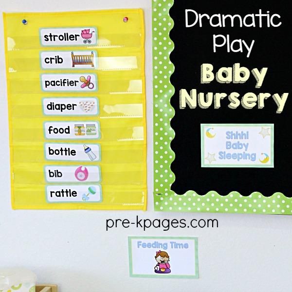 Printable Word Cards for Baby Nursery Pretend Play in Preschool