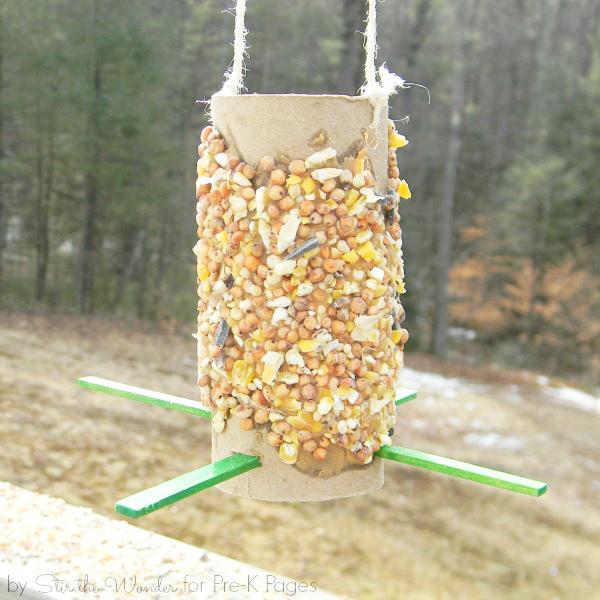 kid-made bird feeder