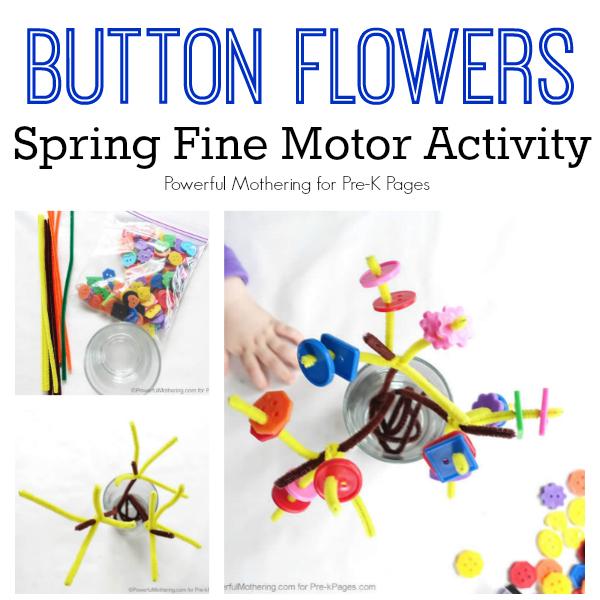 spring button flowers fine motor
