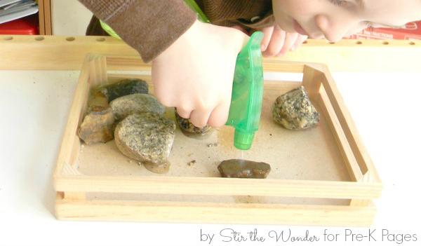 Exploring Rocks spray water science preschool