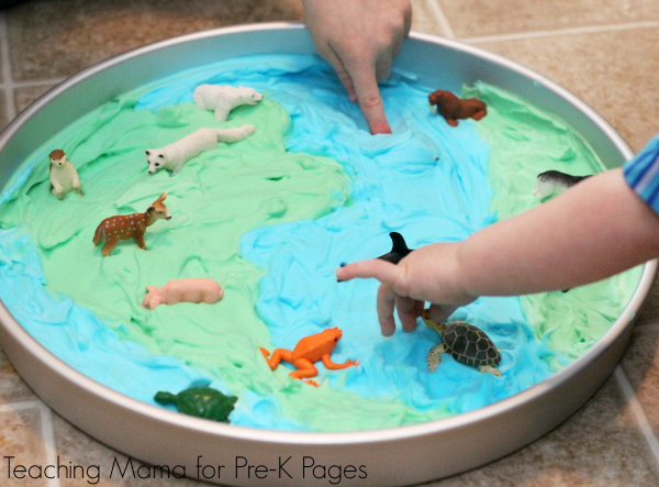 shaving cream sensory play earth day