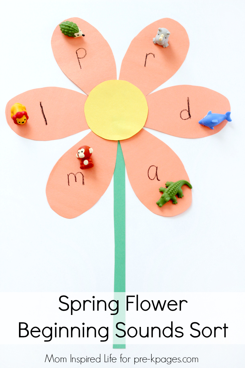 spring flower beginning sounds sort for preschool