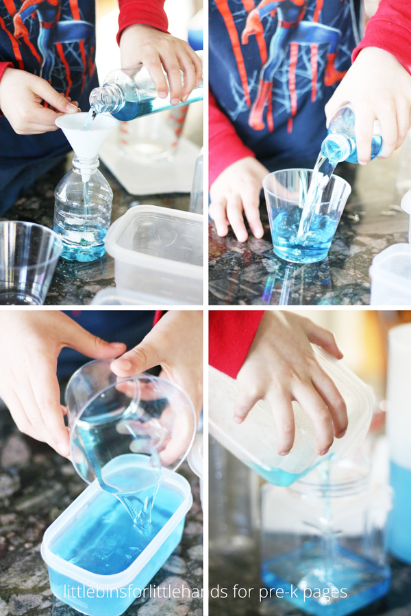 Volume Activity Pouring Water Into Containers