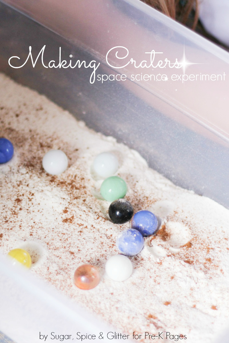 making craters science experiment for preschool