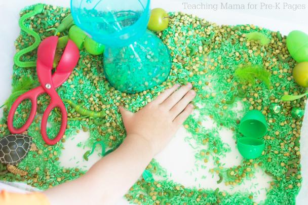 green sensory bin