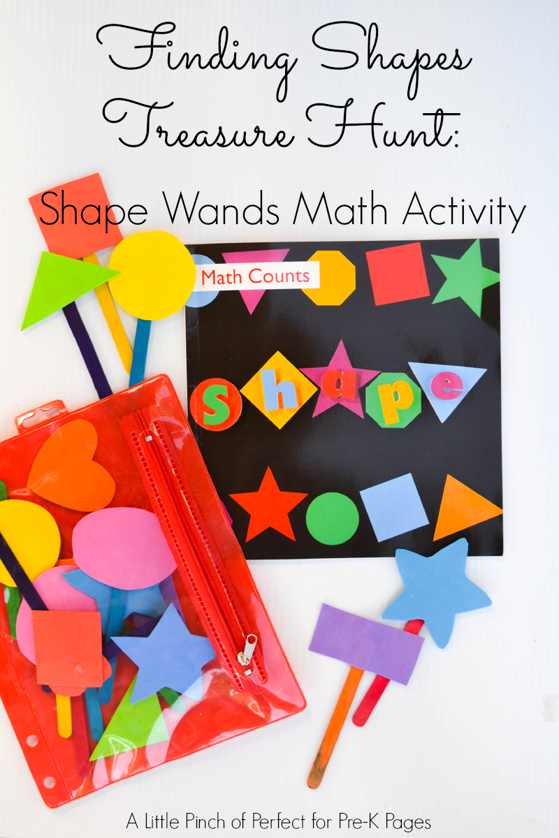 hunt for shapes with wands for preschool