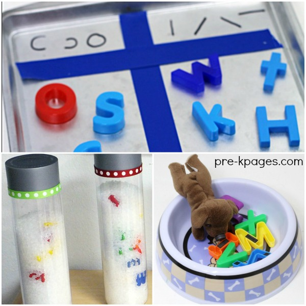 Activities for teaching the letters of the alphabet to children in fun and meaningful ways with magnetic letters