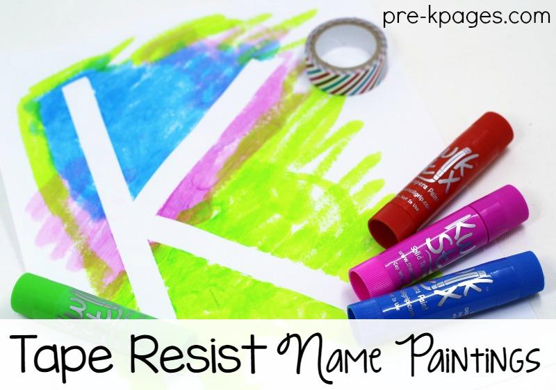 Tape Resist Name Paintings for Kids