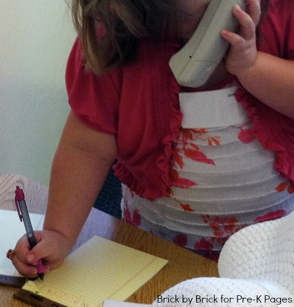 dramatic play writing note phone