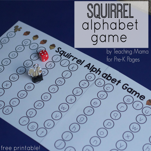 Squirrel Alphabet Game for prek