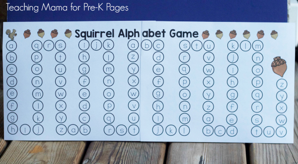 squirrel ABC game for fall