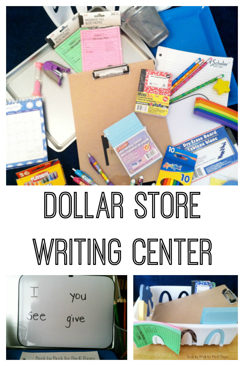 Classroom Writing Ideas ~ Dollar store writing center pre k pages