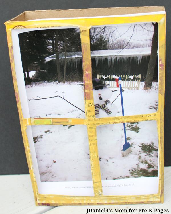 snowman winter window box kindergarten
