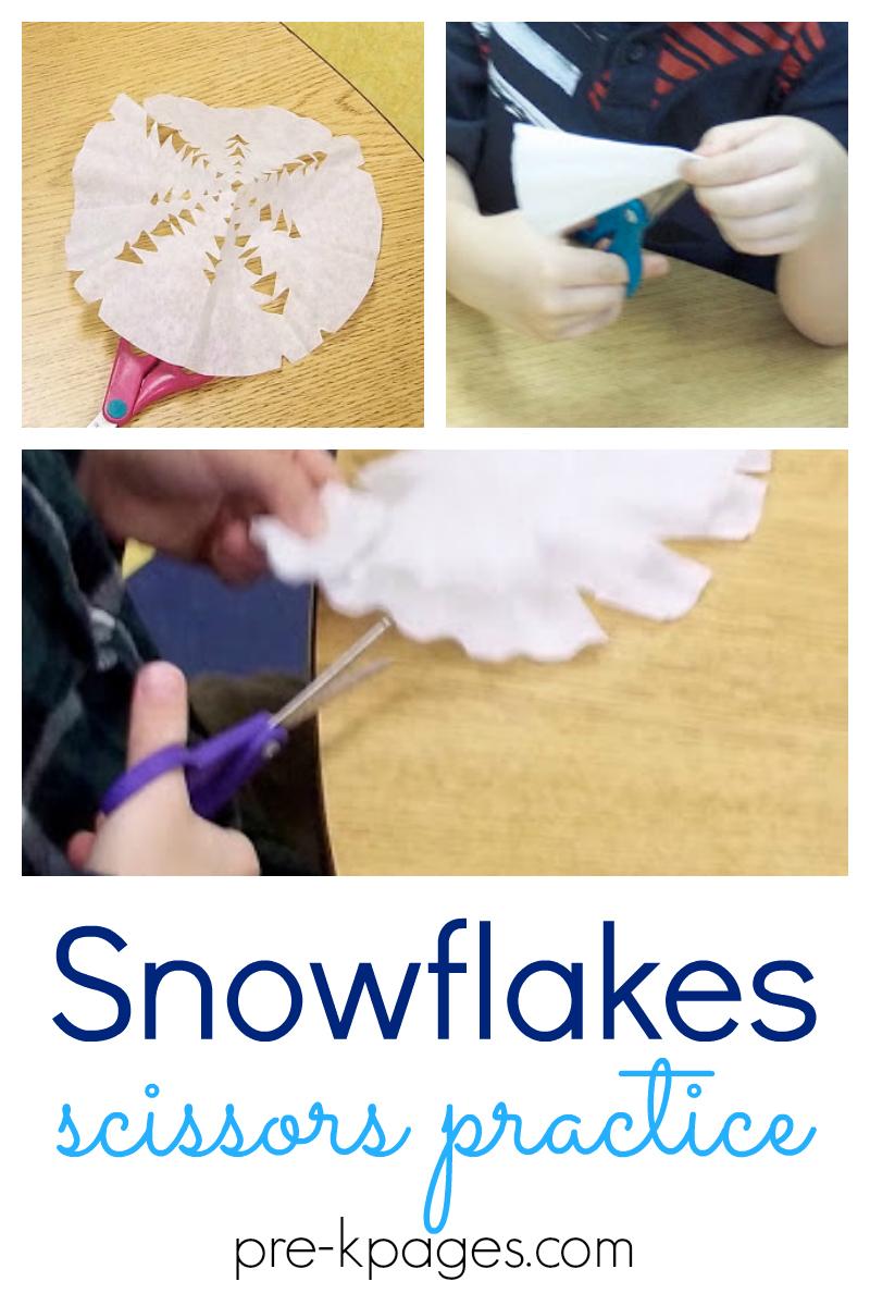 snowflakes scissors practice pre-k