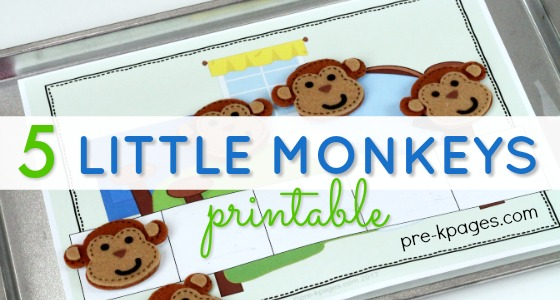 5 Little Monkeys Counting Five Frame Printable