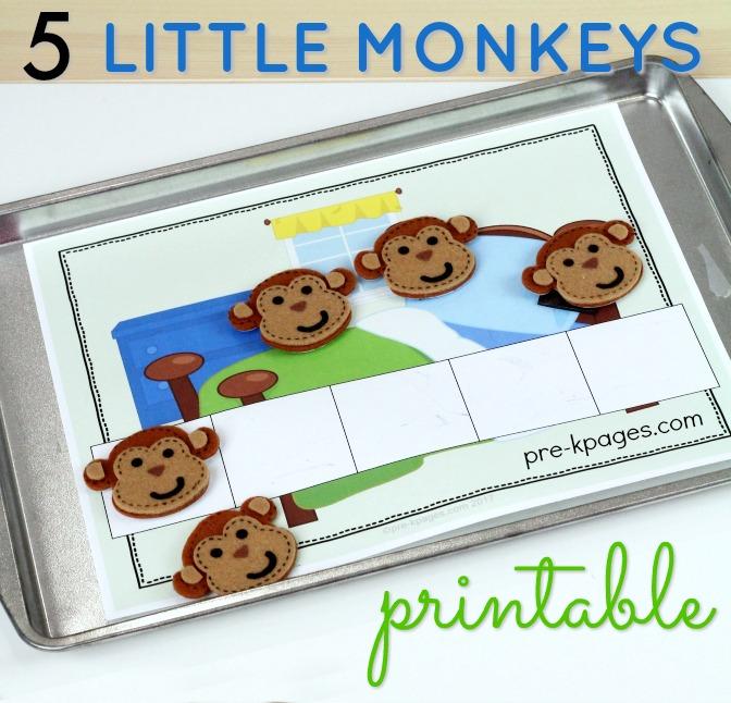 Printable 5 Little Monkeys 5 Frames for Counting