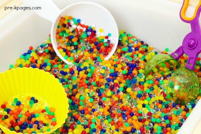 Rainbow Water Bead Play Sensory Bin Preschool