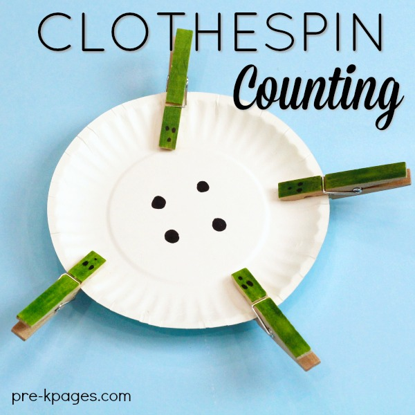 Clothespin Counting Activity for Preschool