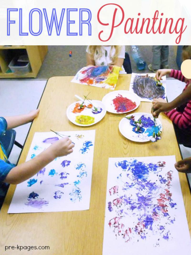 Flower Painting in Preschool