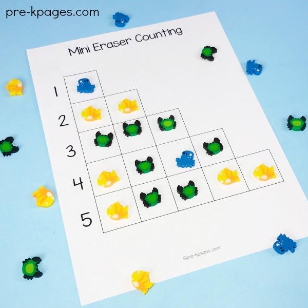 Mini Eraser Math Activities for Preschool - Pre-K Pages