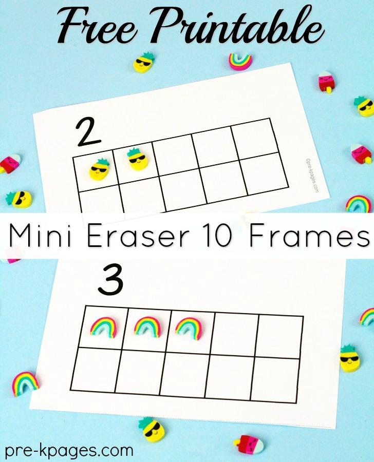 Printable Pineapple Mini Eraser Ten Frames