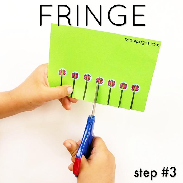 How to Teach Kids Scissor Skills by cutting fringe