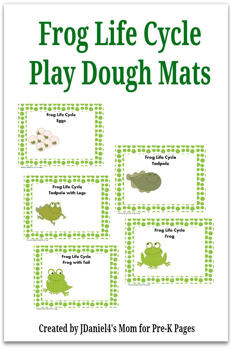 Frog Life Cycle Play Dough Mats for preschool