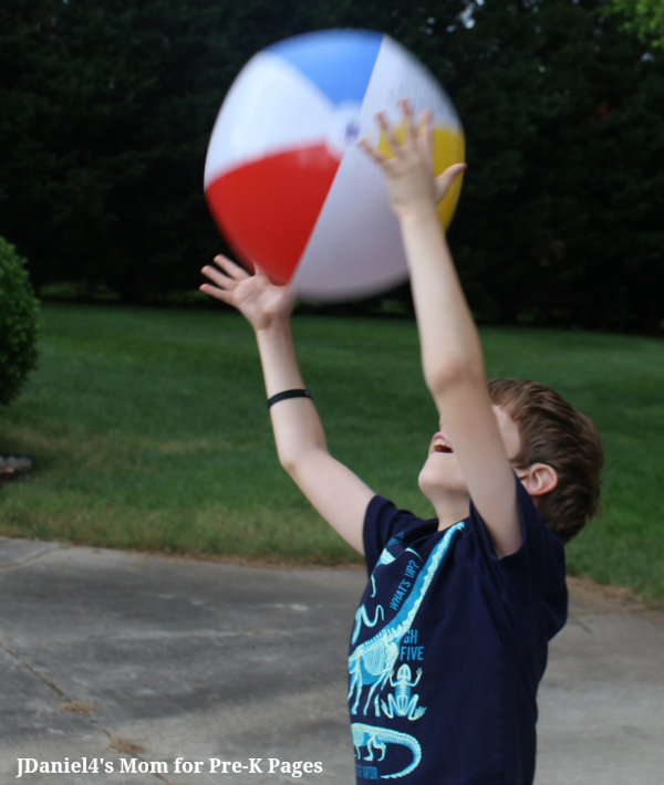 beach ball gross motor game two hand catch