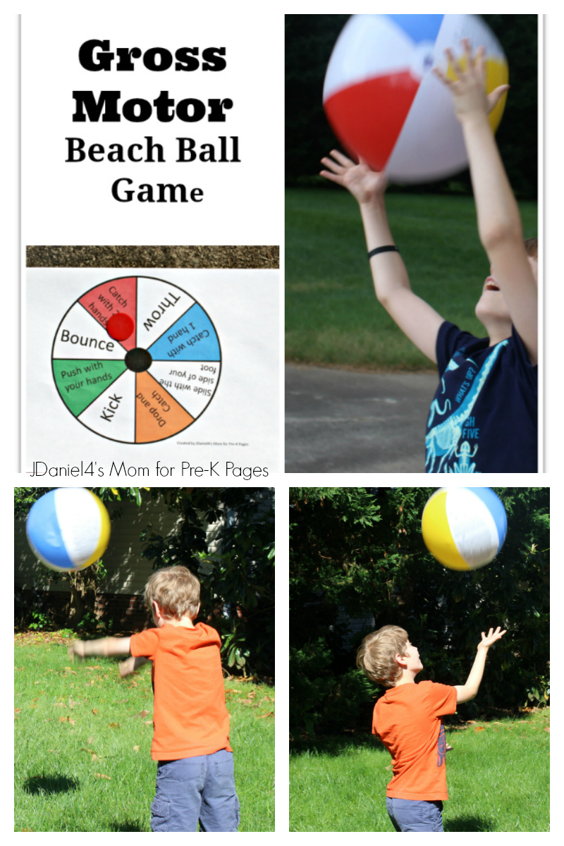 Gross motor beach ball game pre k pages for Large motor skills activities for preschoolers