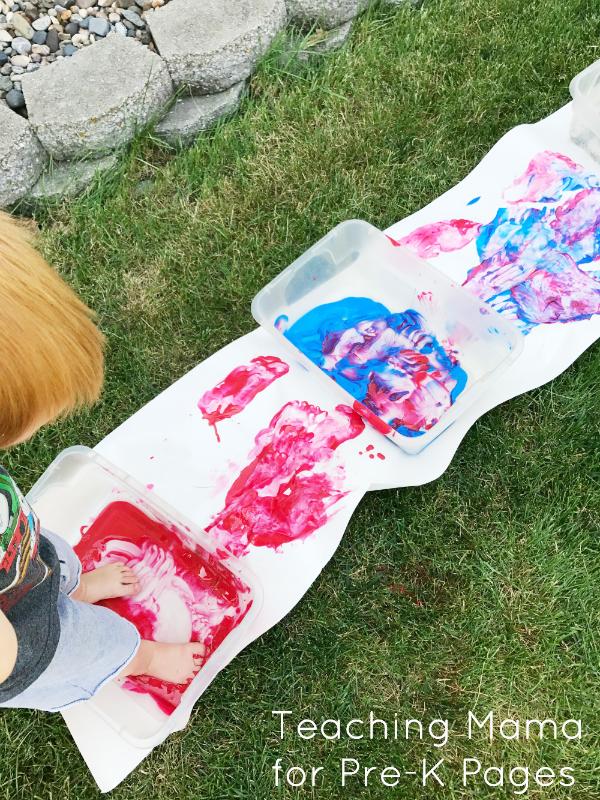 foot painting sensory art