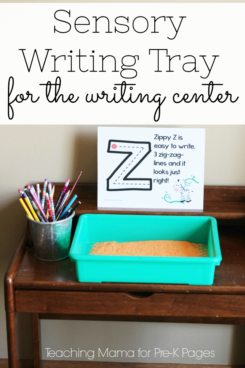 Writing Tray with colored salt for preschool