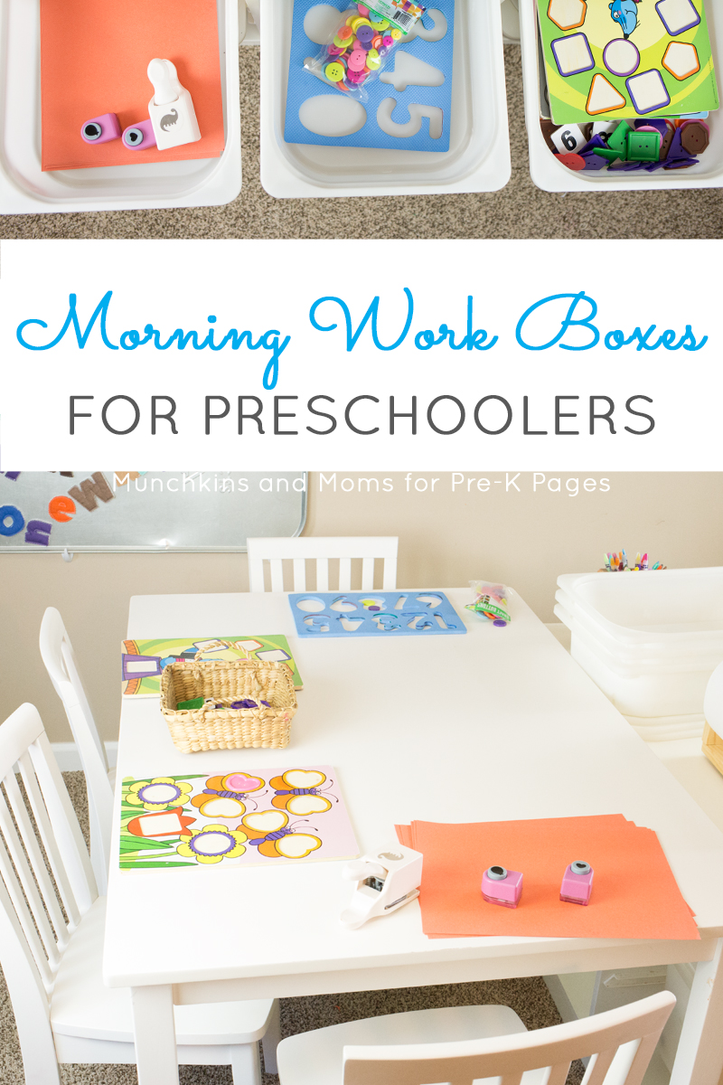 morning work boxes preschool