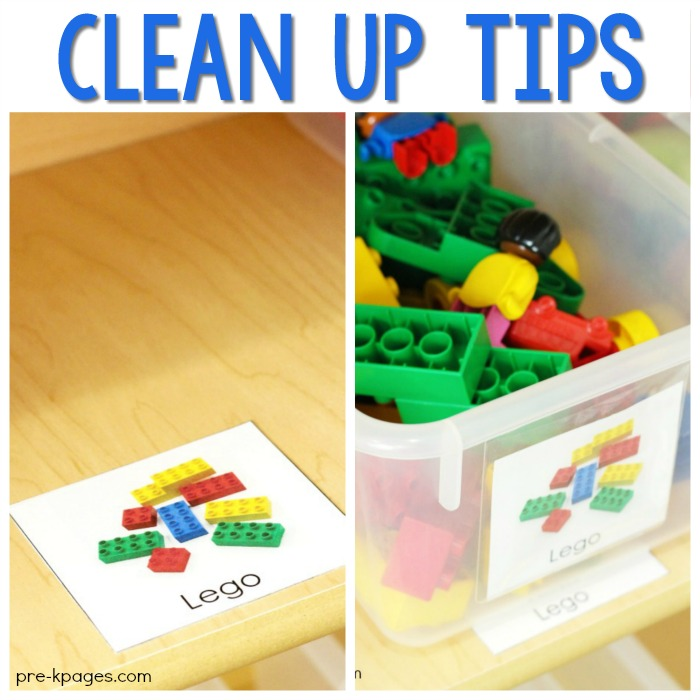 Shelf labels for cleaning up in preschool