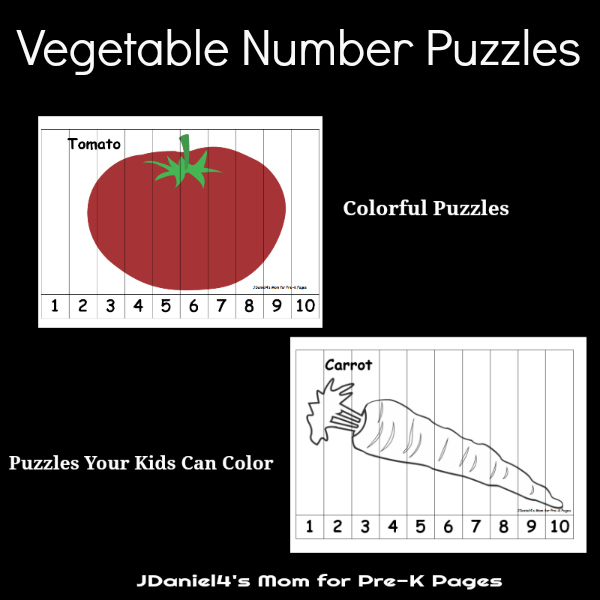 number sequence puzzles vegetables pre-k