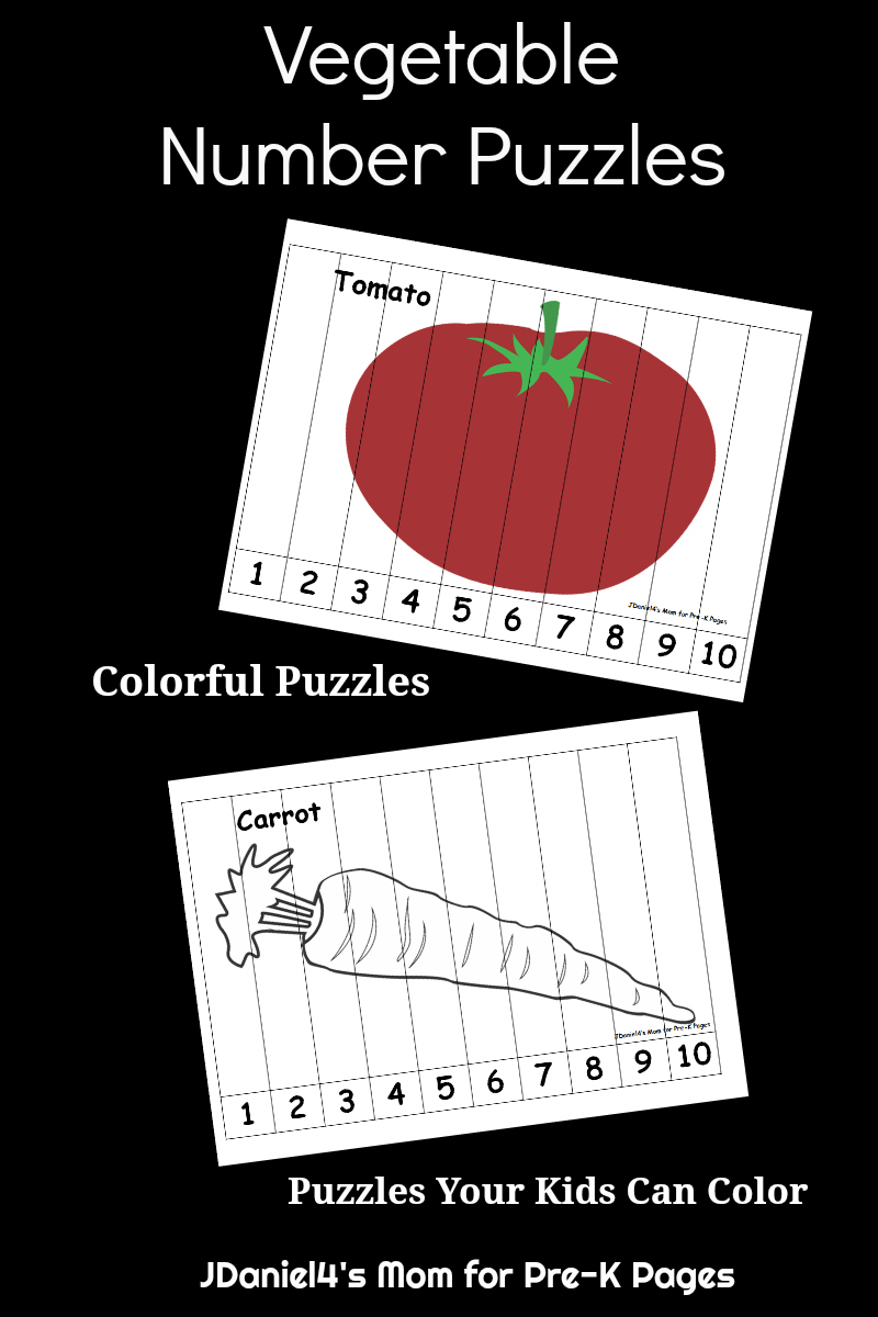 Vegetable number puzzles for preschool