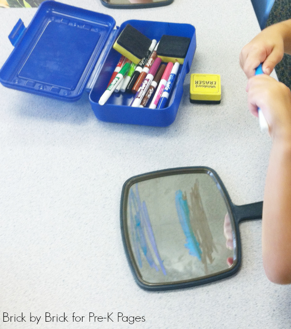 drawing on mirror pre-k
